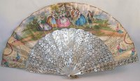 Victorian Hand Painted Mother of Pearl Pierced Fan