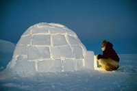 Inuit hunter about to enter his Igloo  Greenland