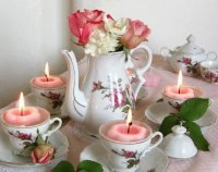 Flowers and Floating Candles in Tea Set