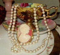 Pearls and Cameo with Tea Cup