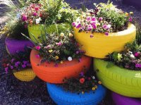 Painted recycled Tires in the Garden
