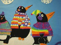 Pinguins painted by Inuit Kids