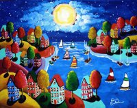 Sailing by full Moon painted by Renie Britenbucher