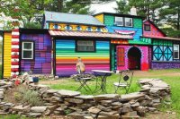 Rainbow colored happy House