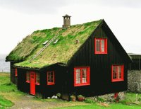 A Grassy House at Kirkjubour  Faroer Islands