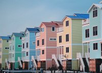Pastel colored Beach Houses  Delaware  USA