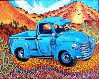Blue Truck in the desert by Bartos