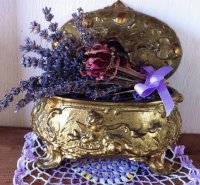 Antique Jewelry Box with Lavender