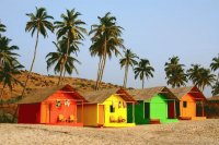 Huts on Mandrem Beach Goa  India
