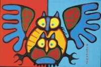 Owl family by Norval Morriseau