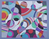 Abstract in circles and straight lines