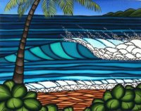 Hawaiian surfing art by Heather Creswell Brown