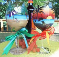 Sunset Beach Wine Glasses