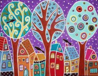3 Trees, 3 Birds and  6 Houses by  Karla Gerard