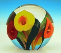 Yellow,orange an red art glass by Lotton