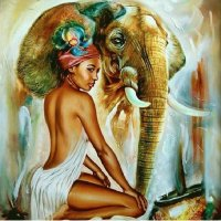Woman with Elephant