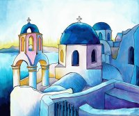 Santorini Greece seen by the painter