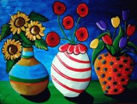 Colorful Whimsical Vases and Flower art