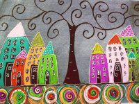 Curly Tree with Houses  by Morgaine Swann