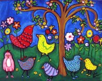 Whimsical Flowers and Birds