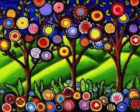 Folk art Whimsical Trees Blossoms