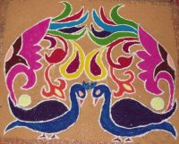 Rangoli design during Diwali festival