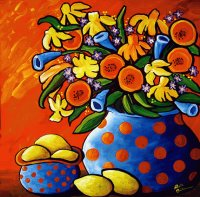 Floral Vase and Lemons by Renie Britenbucher