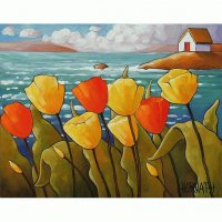 Tulips near the Sea  by Horvath