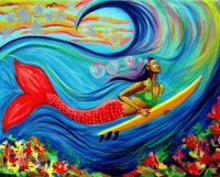 Mermaid surfer Girl