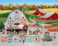 Selling Autumn Quilts and Pumpkins