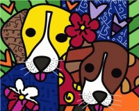Two Puppies by Romero Brito
