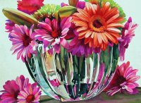 Colored Flower with Vases