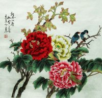 Chinese art  Peony with Birds