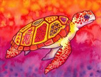 Seaturtle in Red and Orange