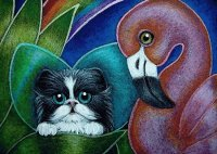 Cat and Flamingo by Cyra Cancel