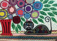 Mexican Folk art Black Cat and Flowers