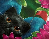Kitten with Hummingbird by Cyra Cancel