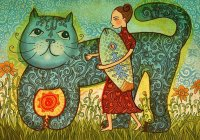 Lady and Cat by Jane Lebedeva