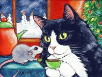 Cat and Mouse having Christmas Tea