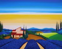 French landscape with Farmhouse and Lavender