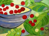 Still Life Blue Bowl and Cherries
