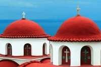 Red Domes Monastery Greece