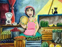 Selling Vegetables by Marilú Sosa