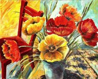 Poppies with Red Chair