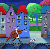 On his way to the Music School by Iwona Lifsches