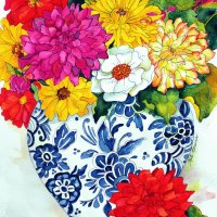Colored Flowers in Vases