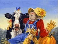 Puppet and Cow by Linda Picken