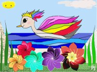 A Colorful Swan Duck and Flowers