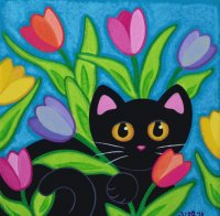 Cat between the Tulips