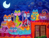 Cats in the Night by Flor de Lucca